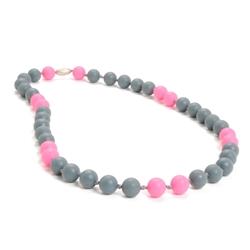 Waverly Teething Necklace-Stormy Grey-Chewbeads Waverly Teething Necklace,chewbeads,teether,teether necklace,teething necklace,grey, pink,stormy,waverly