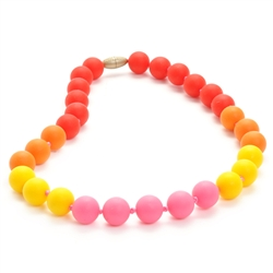 Juniorbeads Bleecker Jr. Necklace - Punchy Pink-juniorbeads, chewbeads,silicone jewelry, bright colorful, childrens jewelry,  bleecker,  Juniorbeads Bleecker Jr. Necklace,Punchy Pink