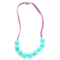 Juniorbeads Madison Jr. Necklace (Glow in the Dark) - Spearmint-juniorbeads, chewbeads, glow in the dark,madison jr. necklace, madison, pink, aqua, fuschia,purple, juniorbeads, spearmint
