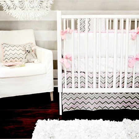 Peace, Love & Pink Baby Bedding 4 piece Set-Chevron, 4 piece Set, Baby Bedding, Crib Set, Gey, Pink, White, Zig Zag, New Arrivals, Peace, Love, Pink