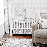 Stella Gray Baby Bedding Set-Stella Gray Baby Bedding, 4 piece Set, Grey crib set, damask crib set, sweet crib set