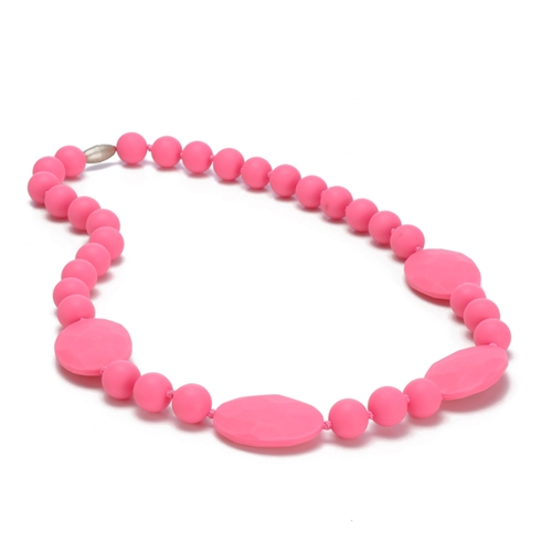Perry Teething Necklace-Punchy Pink-Chewbeads Perry Teething Necklace,chewbeads,teether,teether necklace,teething necklace,Perry Teething Necklace Punchy Pink,pink,pink punch, Perry Teething Necklace-Punchy Pink