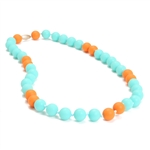 Waverly Teething Necklace-Turquoise-Chewbeads Waverly Teething Necklace,teether,teether necklace,teething necklace,waverly, color blocking, color block,turquoise, orange, melon
