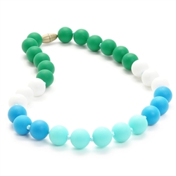 Juniorbeads Bleecker Jr. Necklace - Turquoise-juniorbeads, chewbeads,silicone jewelry, bright colorful, childrens jewelry,  bleecker,  Juniorbeads Bleecker Jr. Necklace, Turquoise, green, white, aqua,